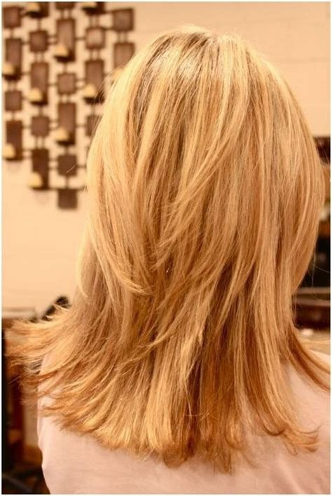 hairstyles for medium length hair back view layered shoulder length hair back view