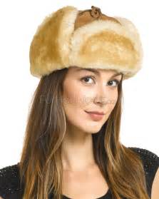 womens alaska shearling sheepskin trapper hat in