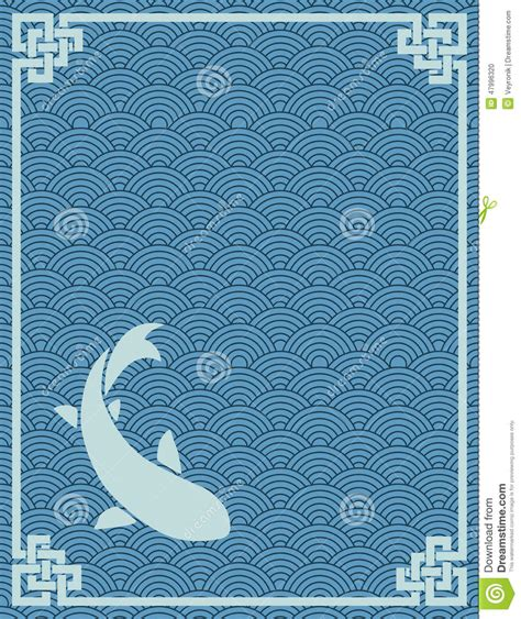 japanese pattern book download japanese wave and carp book cover stock vector image