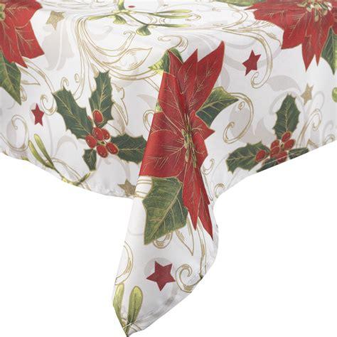 manita vintage christmas table linen festive holly poinsettia xmas tablecloth ebay