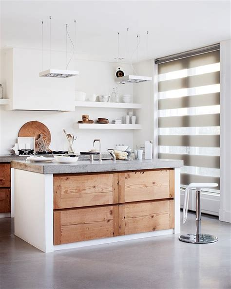 Concrete And Wood Kitchen by Immaculate White Kitchen Combined With Materials