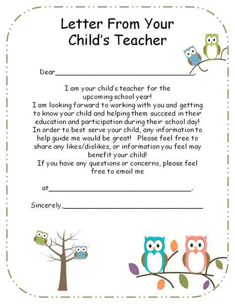 Parent Greeting Letter letter from to parents editable initials