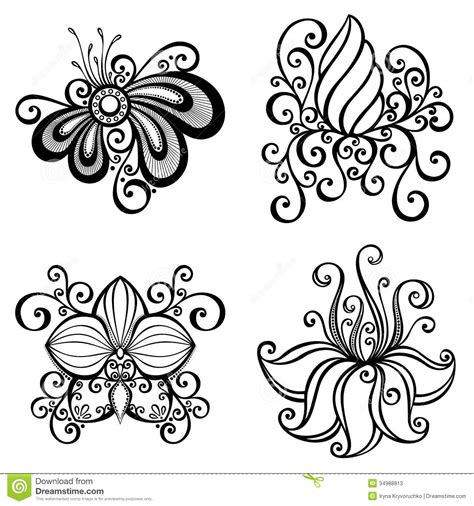 set of beautiful deco flowers stock vector image 34988813