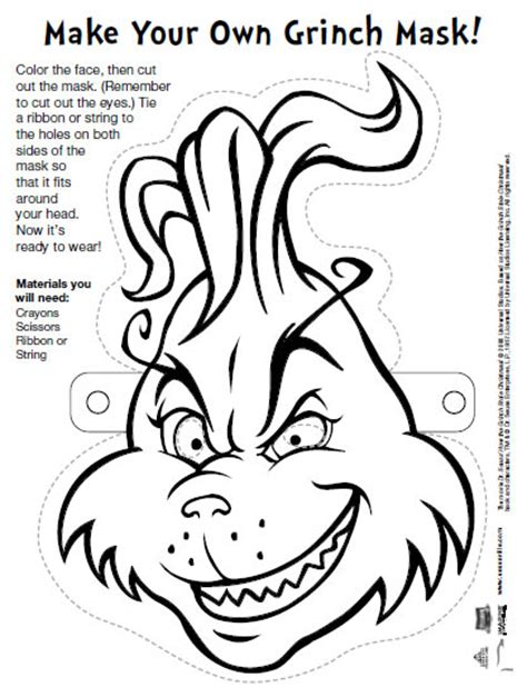 grinch mask template templates pinterest grinch