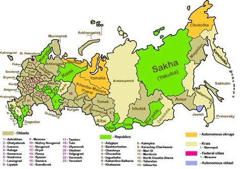 russia map area politics of country subdivisions