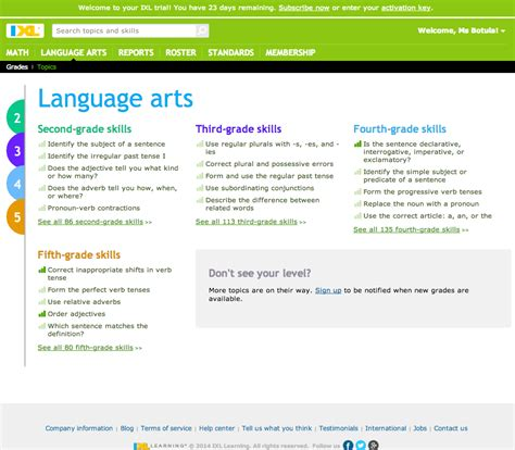 IXL: Language arts    Fifth grade skills Educator Review