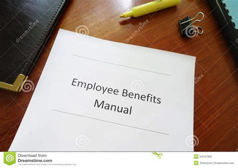 Advantages Of Desking To The Employee by Benefits Manual Stock Photo Image 54147329