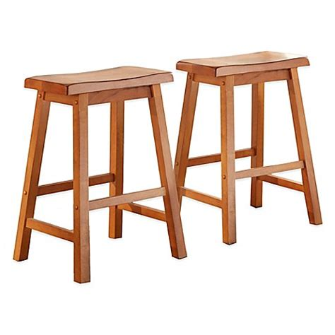oak saddle bar stools buy verona home calera saddle counter stools in oak set