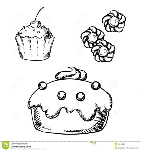 cake cupcake and cookies sketches stock vector image