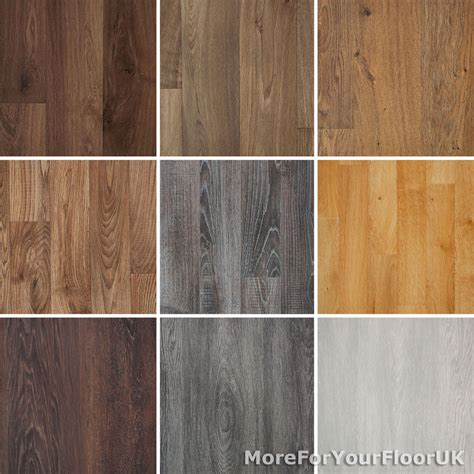 Wood Plank Grain Effect Vinyl Flooring Quality Lino 2m 3m