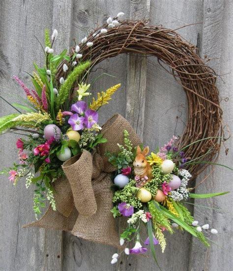 spring wreath ideas to make easter wreath spring door decor woodland wreath bunny
