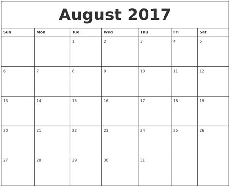 august 2017 printable monthly calendar