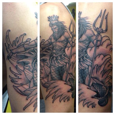 poseidon tattoo half sleeve www imgkid com the image