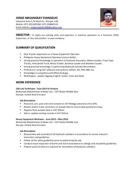 Heavy Machine Operator Description by Machine Operator Description Cv Heavy Equipment Operator Foreman Machine Operator Resume