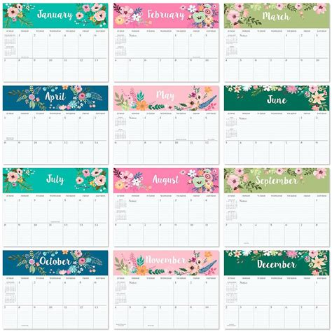 Calendar Big 2018 2018 Floral Big Grid Planning Calendar Current