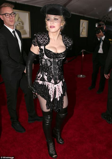 Madonna shows off MAJOR cleavage on the Grammys red carpet   Daily Mail Online