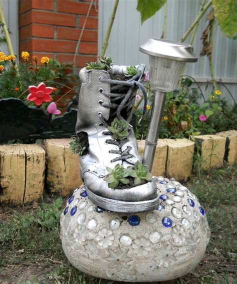 diy home garden decor idea with a shoe planter and succulents