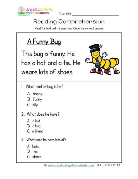 year 1 comprehension worksheets