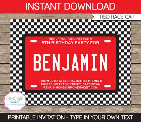 motorsport templates race car invitations template birthday