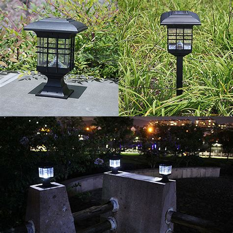 led patio lights solar powered led garden yard bollard pillar light post