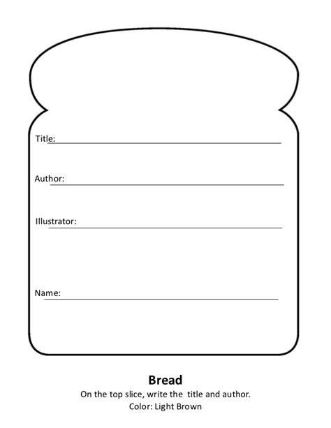 sandwich book report printable template sandwich book report