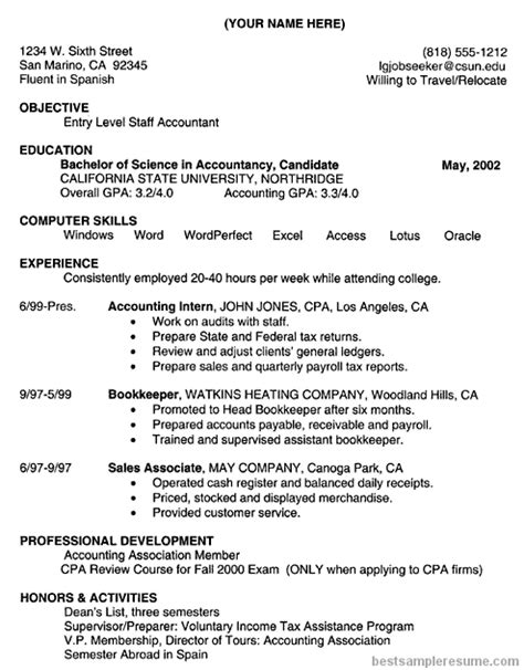 Resume Objective Exles Entry Level Accounting Accounting Resume Accounting Resume Sle