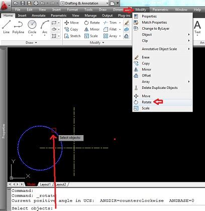 rotate layout view autocad autocad design rotate from the modify toolbar