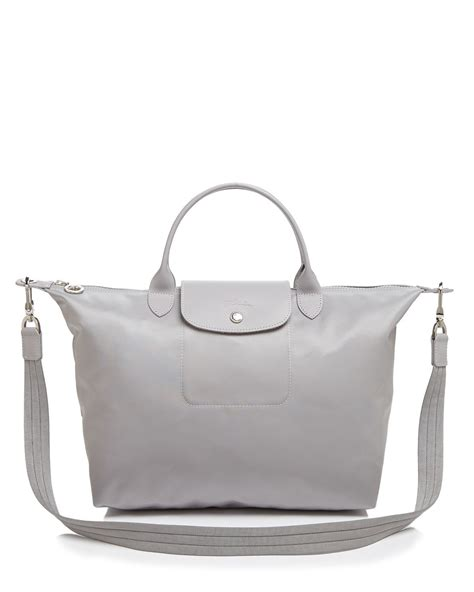 Longch Le Pliage Neo Handle Neo Shopper O R I G I N A L 2 lyst longch le pliage neo medium tote in gray