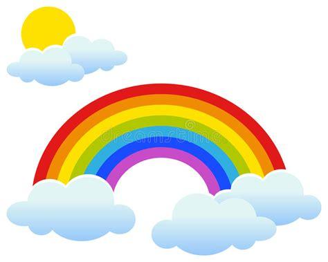 clipart arcobaleno arcobaleno con sun e le nuvole illustrazione vettoriale