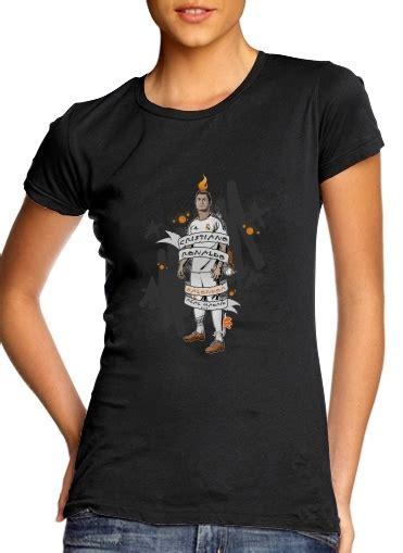 Tshirt Ronaldo Black t shirt manche courte cold rond femme cristiano ronaldo
