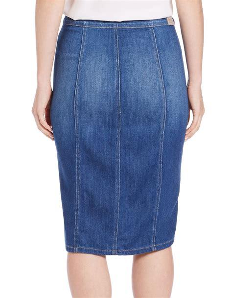 Guess Denim Skirt lyst guess button front denim skirt in blue