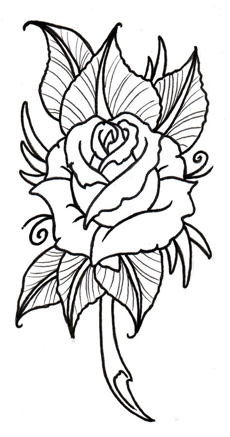 tattoo rose outline roses cliparts