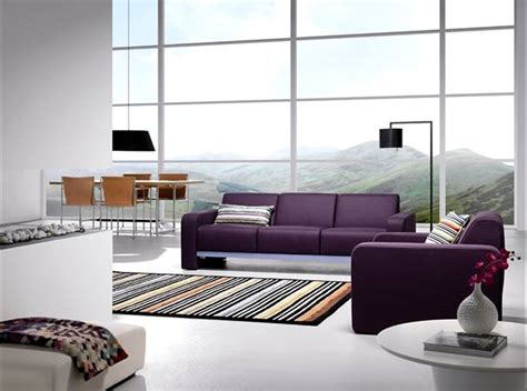 Living Room Interior Design With Purple Reflex Sofa By Living Room With Purple Sofa