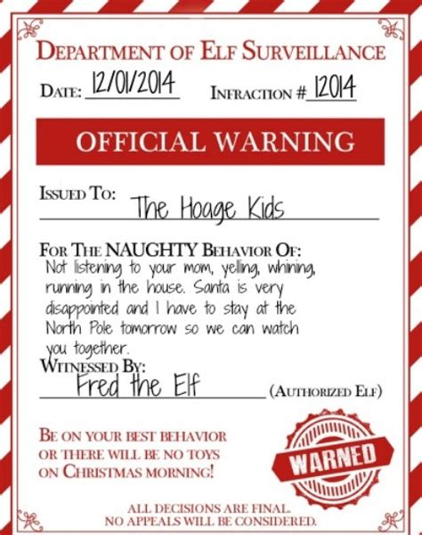 elf on the shelf official warning printable mommy of a monster s holiday roundup