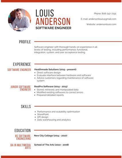 Resume With Picture Template by Professional Software Engineer Resume Cv Template01