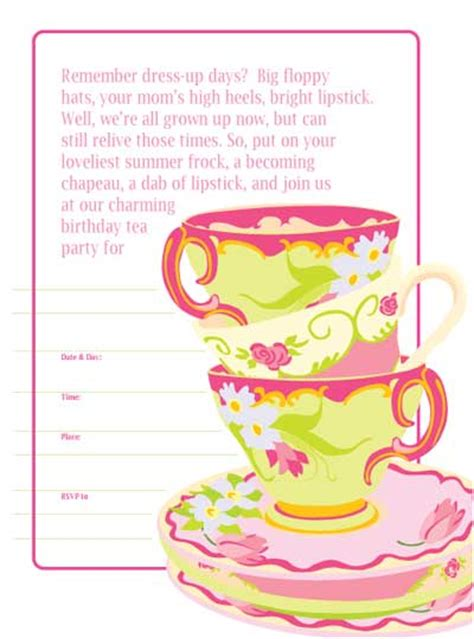 printable tea invitations template 8 best images of free printable tea