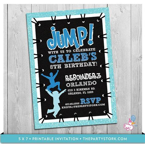 printable jump birthday invitations troline party invitation custom printable by