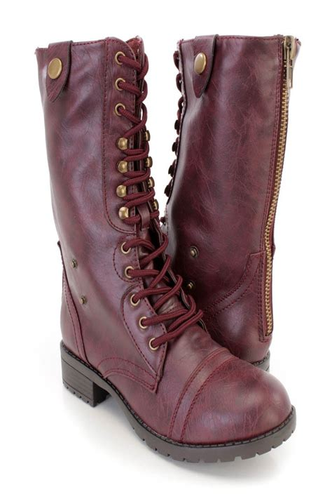 wine boots wine lace up combat boots faux leather