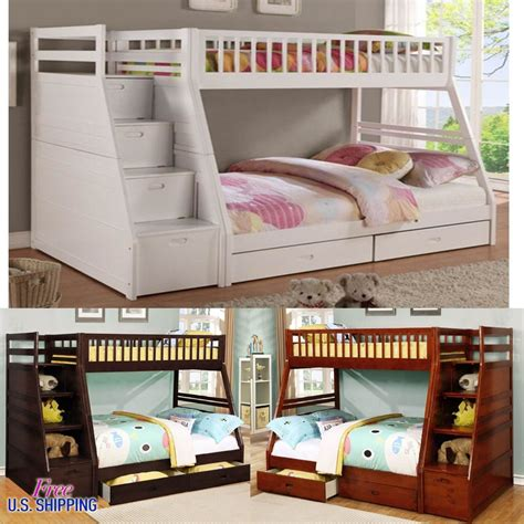 loft bed for teens wooden bunk bed twin full solid wood loft bunkbed kids teens beds furniture new ebay