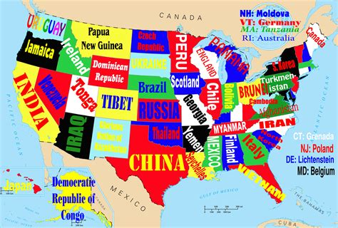 U S A this map shows the united states if each state were named