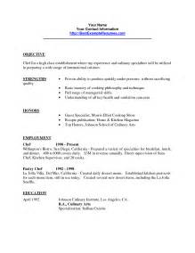 Culinary Arts Resume Sle by Culinary Student Resume Objective Bestsellerbookdb