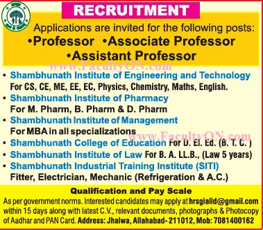 Mba Faculty Salary As Per Aicte Norms by Shambhunath Institute Of Engineering And Technology