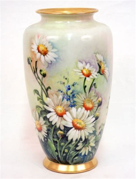 Daisies In A Vase by Painted Porcelain Vase Daisies And Corn Flowers O