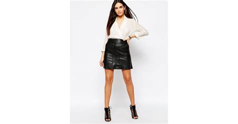 warehouse leather look panelled mini skirt black in