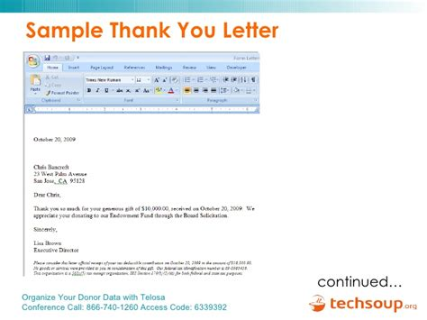 Thank You Note For Donation In Honor Of Someone Organize Your Donor Data With Telosa