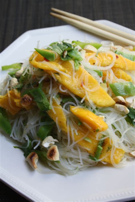 rice noodle salad rice noodle salad with mango and snow peas recipe on