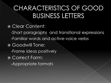 Characteristics Of Business Letter Ppt letters memos presentation