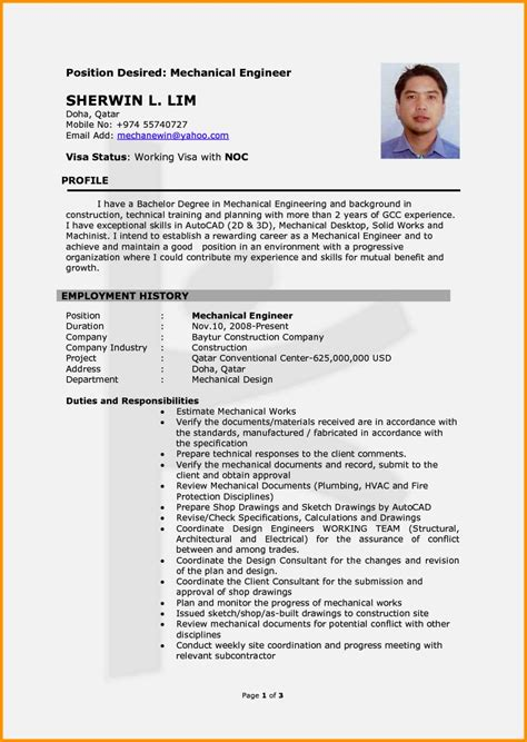 Resume Format Doc For Mechanical Engineers Freshers mechanical engineer cv template resume template cover