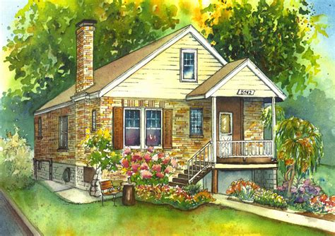 house portrait artist watercolor house painting of your home custom art