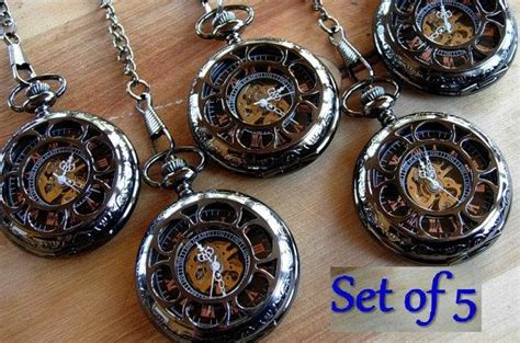 set of 5 pocket watches with chains personalized